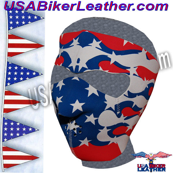 Full Face Neoprene Face Mask with American Flag Flames / SKU USA-FMF04-MSK-US-FLAME-HI - USA Biker Leather