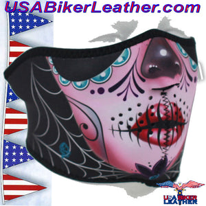 Half Mask Made of Neoprene Sugar Skull Design / SKU USA-FMS11-WNFM082H - USA Biker Leather