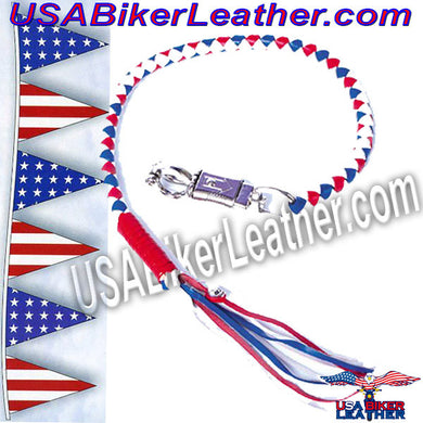 Get Back Whip in Red White and Blue Leather / SKU USA-GBW11-DL - USA Biker Leather