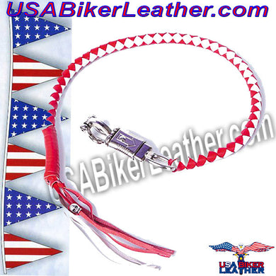 Get Back Whip in Red and White Leather / SKU USA-GBW12-DL - USA Biker Leather