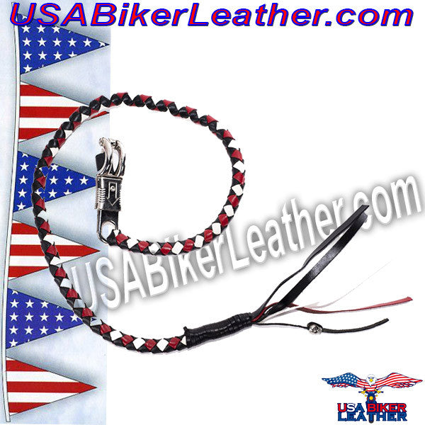 Get Back Whip in White Red and Black Leather / SKU USA-GBW13-DL - USA Biker Leather