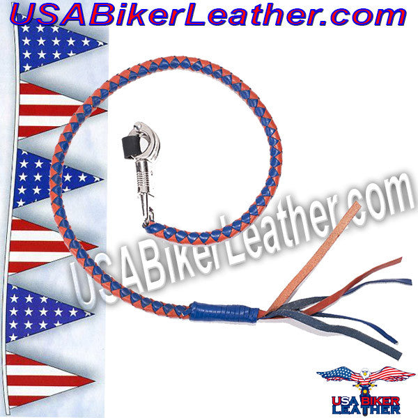 Get Back With in Orange and Blue Leather / SKU USA-GBW14-DL - USA Biker Leather