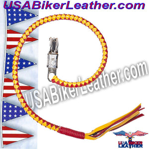 Get Back Whip in Yellow and Red Leather / SKU USA-GBW15-DL - USA Biker Leather