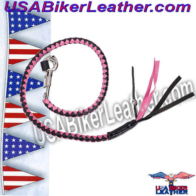 Get Back Whip in Pink and Black Leather / SKU USA-GBW5-DL - USA Biker Leather