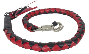 3 Inch Fat Get Back Whip in Black and Red Leather - Motorcycle Accessories - SKU USA-GBW6-11-T2-DL