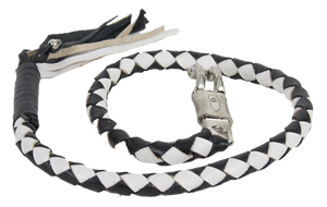 2 Inch Fat Get Back Whip in Black and White Leather - Motorcycle Accessories - SKU USA-GBW7-11-T1-DL - USA Biker Leather