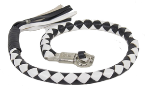 3 Inch Fat Get Back Whip in Black and White Leather - Motorcycle Accessories - SKU USA-GBW7-11-T2-DL