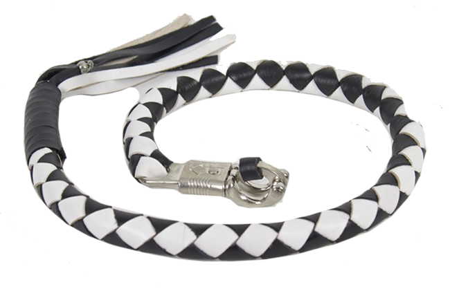 3 Inch Fat Get Back Whip in Black and White Leather - Motorcycle Accessories - SKU USA-GBW7-11-T2-DL - USA Biker Leather