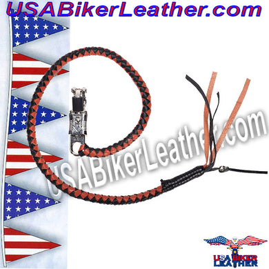 Get Back Whip in Black and Orange Leather / SKU USA-GBW9-DL - USA Biker Leather