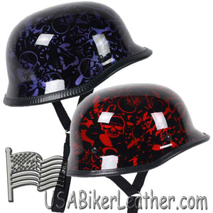 German Novelty Motorcycle Helmet Boneyard Colors - SKU USA-BY-GERM-NOV-HI