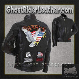Mens Diamond Plate Patchwork Leather Motorcycle Jacket With Patches / SKU GRL-GFCRLTRS-BN - USA Biker Leather