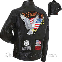 Mens Diamond Plate Patchwork Leather Motorcycle Jacket With Patches / SKU GRL-GFCRLTRS-BN