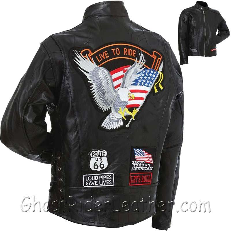 f7d2abba4 Mens Diamond Plate Patchwork Leather Motorcycle Jacket With Patches / SKU  GRL-GFCRLTRS-BN