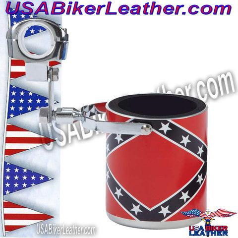 Diamond Plate Stainless Steel Rebel Flag Motorcycle Cup Holder / SKU USA-GFCUPHSR-BN