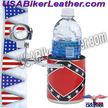 Diamond Plate Stainless Steel Rebel Flag Motorcycle Cup Holder / SKU USA-GFCUPHSR-BN - USA Biker Leather - 2
