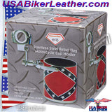 Diamond Plate Stainless Steel Rebel Flag Motorcycle Cup Holder / SKU USA-GFCUPHSR-BN - USA Biker Leather - 3