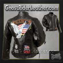 Ladies Diamond Plate Patchwork Leather Motorcycle Jacket With Patches / SKU GRL-GFLADLTRS-BN - USA Biker Leather