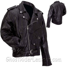 Mens Diamond Plate Patchwork Leather Motorcycle Jacket - Big Sizes - SKU GRL-GFMOT3X-7X-BN - USA Biker Leather