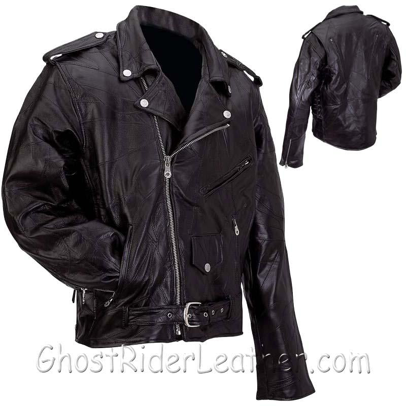 Mens Diamond Plate Patchwork Leather Motorcycle Jacket - Big Sizes - SKU GRL-GFMOT3X-7X-BN