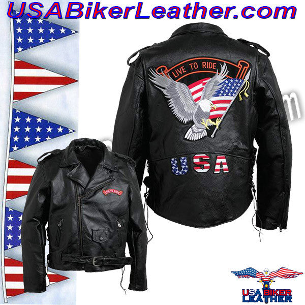 Diamond Plate Mens Hand Sewn Pebble Grain Genuine Leather Motorcycle Jacket / SKU USA-GFMOTLTR-BN - USA Biker Leather