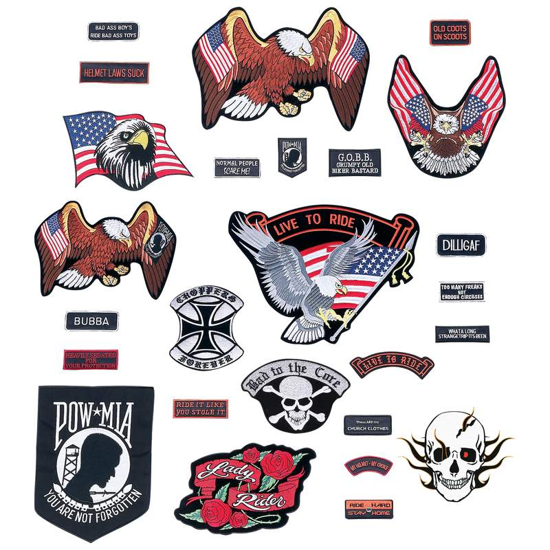 Live To Ride 26 Piece Embroidered Motorcycle Biker Patches Set- SKU USA-GFPATCH26-BN