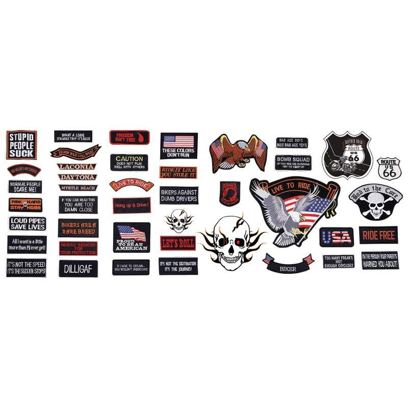 Live To Ride 42 Piece Embroidered Motorcycle Biker Patches Set- SKU USA-GFPATCH42-BN