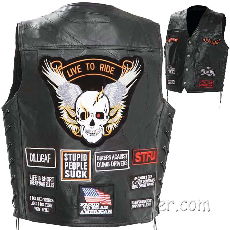 Mens Diamond Plate Patchwork Leather Vest With Concealed Carry - 16 Patches - SKU USA-GFV16-BN