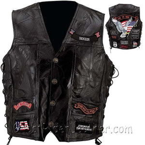 Mens Diamond Plate Big Sizes Patchwork Leather Vest With Concealed Carry - 14 Patches - SKU USA-GFVBIK144X-7X-BN