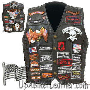 Mens Diamond Plate Patchwork Leather Vest With 42 Patches - SKU USA-GFVBIK42-BN