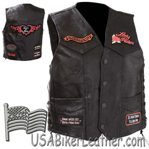 Diamond Plate Ladies Patchwork Leather Vest with Many Patches - SKU USA-GFVLADY-BF
