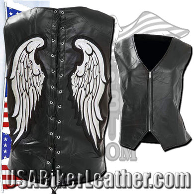 Diamond Plate Ladies Rock Design Genuine Leather Angel Wing Vest / SKU USA-GFVLAW-BF - USA Biker Leather - 1
