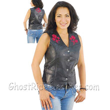 Live-Ride-Rock Ladies Patchwork Leather Vest with Embroidered Roses - SKU GRL-GFVROSE-BF