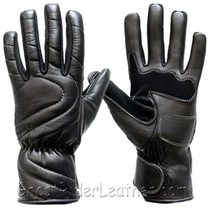 Lined Leather Motorcycle Riding Gloves For Colder Weather - SKU GRL-GG18-DL-leather riding gloves-Ghost Rider Leather