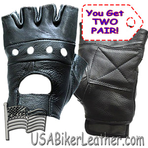 Two Pair of Fingerless Leather Gloves For The Price Of One - BOGO - SKU USA-GL2008-X2-DL