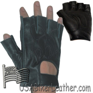 Fingerless Biker Leather Motorcycle Gloves With Black Flames - SKU USA-GL2015-DL
