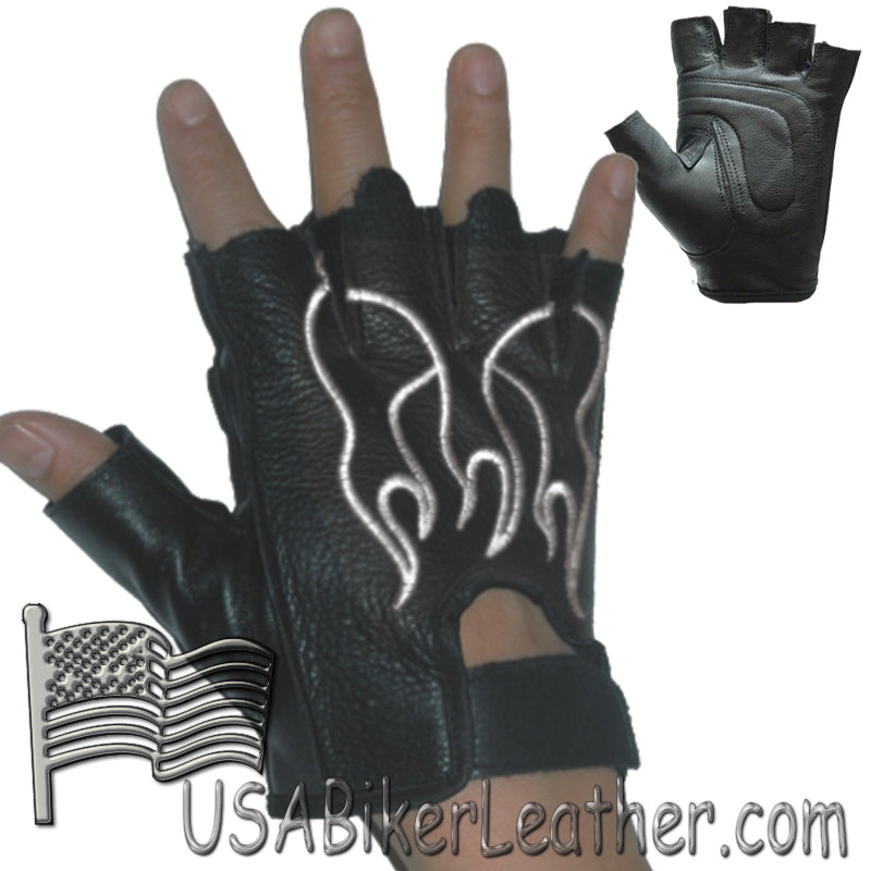 Fingerless Biker Leather Motorcycle Gloves With White Flames - SKU USA-GL2018-DL