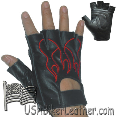 Fingerless Biker Leather Motorcycle Gloves With Red Flames - SKU USA-GL2019-DL