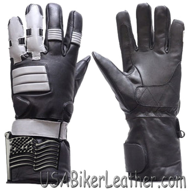 Full Finger Leather Motorcycle Riding Gloves With Gel Palms - SKU USA-GL2039-DL