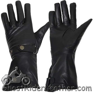 Long Leather Summer Riding Gauntlet Gloves - SKU GRL-GL2064-DL