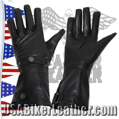 Long Leather Summer Riding Gauntlet Gloves / SKU USA-GL2064-DL - USA Biker Leather