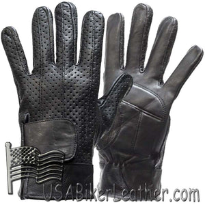 Full Finger Leather Riding Gloves with Air Vents And Gel Pads - SKU USA-GL2084-DL