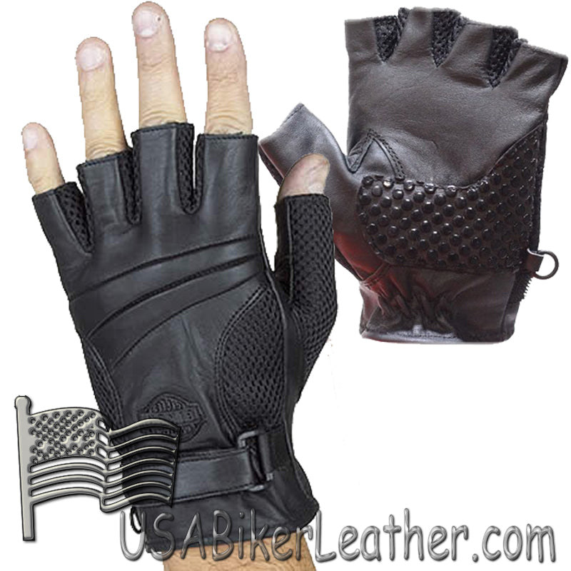 Fingerless Biker Leather Motorcycle Gloves With Gel Palms - SKU USA-GL2092-DL