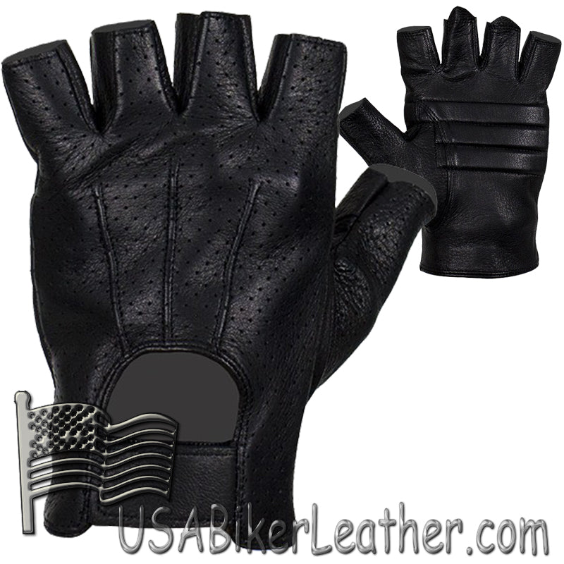 Deer Skin Premium Leather Fingerless Motorcycle Riding Gloves - SKU USA-GLD2090-22-DL