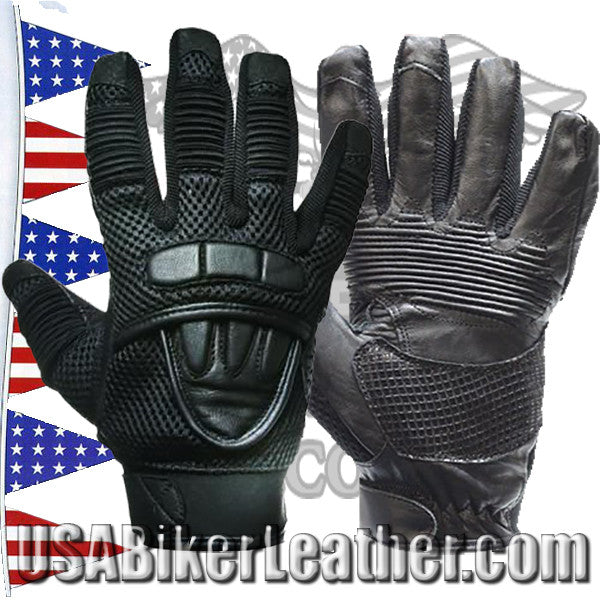 Premium Leather Motorcycle Gloves with Double Knuckle / SKU USA-GLZ41-DL - USA Biker Leather