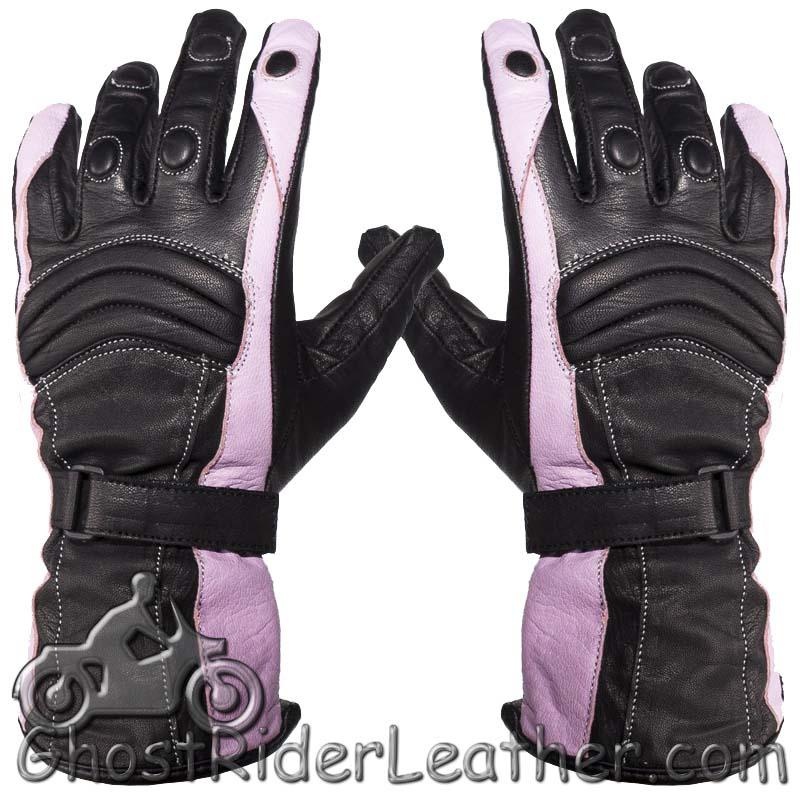 Ladies Leather Gauntlet Gloves in Pink and Black With Padded Knuckles - SKU GRL-GLZ60-PINK-DL