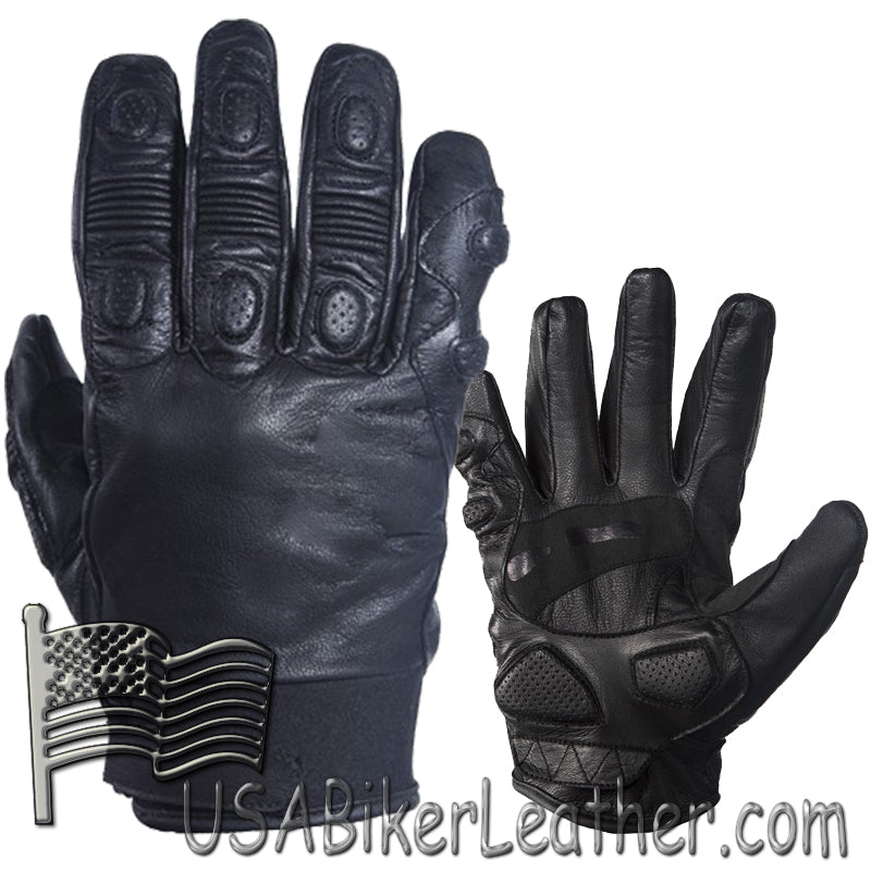 Full Finger Soft Leather Padded Motorcycle Riding Gloves - SKU USA-GLZ80-DL