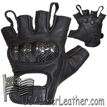 Fingerless Biker Leather Motorcycle Gloves With Knuckle Protection - SKU USA-GLZ86-DL