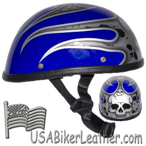 Silver Skull and Blue Flames Novelty Motorcycle Helmet - SKU USA-H401-D4-BLUE-1-DL
