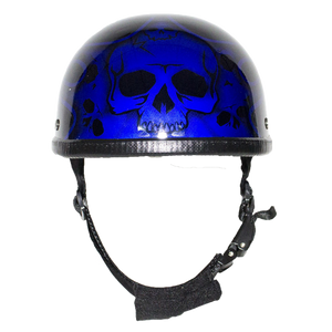Blue Burning Skull Novelty Motorcycle Helmet - SKU USA-H401-D4-BLUE-DL - USA Biker Leather