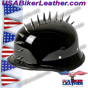 Spiked German Novelty Motorcycle Helmet in Gloss Black / SKU USA-H402-02-DL - USA Biker Leather